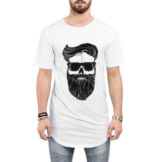 cb679cc5c Camiseta Criativa Urbana Long Line Oversized Estilo Barbearia Homem Barba  Óculos Caveira