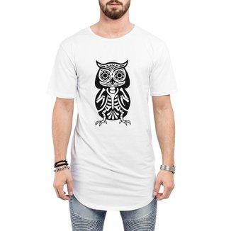 57cdfb1c75dbb Camiseta Criativa Urbana Long Line Oversized Caveira Esquelética Tattoo