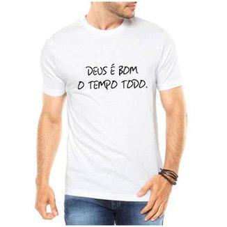 Camiseta Criativa Urbana Deus é Bom Religiosa Masculina 767b0f0efe694