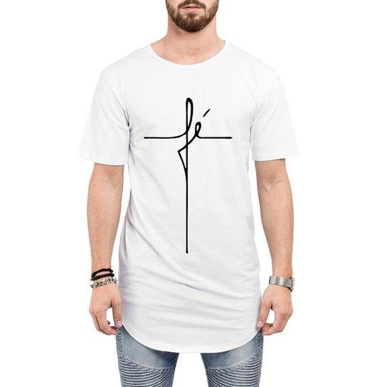994c690684 Camiseta Criativa Urbana Long Line Oversized Fé Religiosa Masculina - Branco