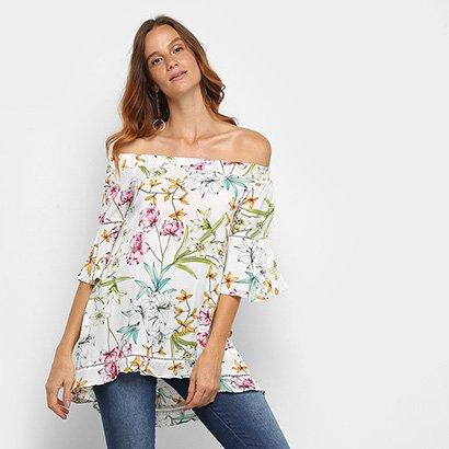 Blusa Lily Fashion Bata Ombro A Ombro Floral Feminina