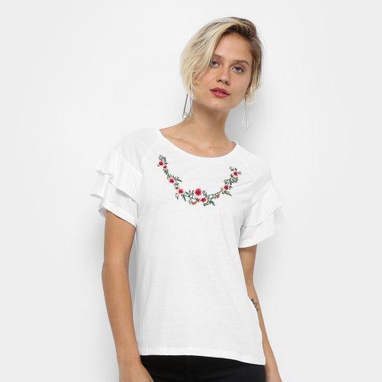 62bd4a48b Camiseta Acrobat Bordada Babados Feminina - Compre Agora | Netshoes