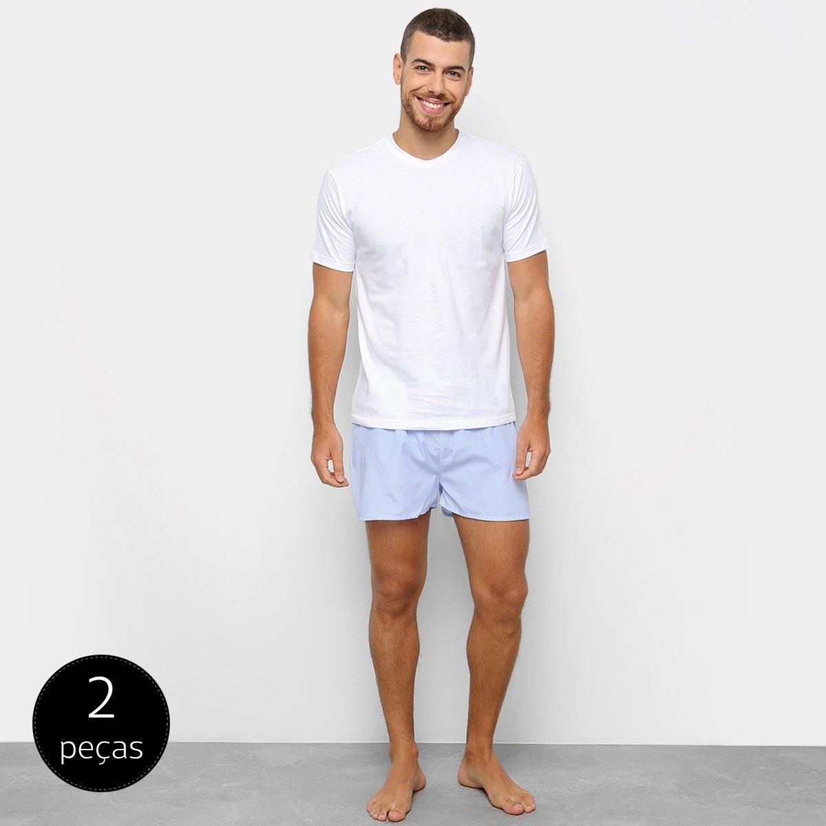 33f68aa491a703 Conjunto de Pijama Duomo 2 Peças Liso Masculino - Tam: M - Shopping ...