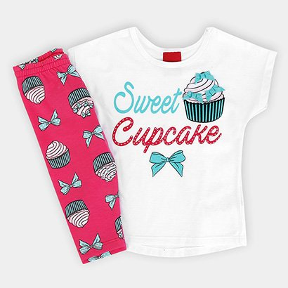 Conjunto Infantil Kyly Cotton Cup Cake Feminino