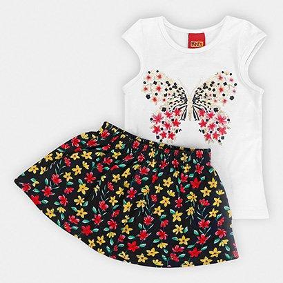 Conjunto Infantil Kyly Shorts Saia Borboleta