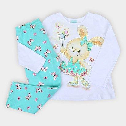 Pijama Longo Infantil Kyly Meia Malha Coelhinha