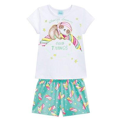 Pijama Infantil Kyly Preguiça Brilha no Escuro Feminino