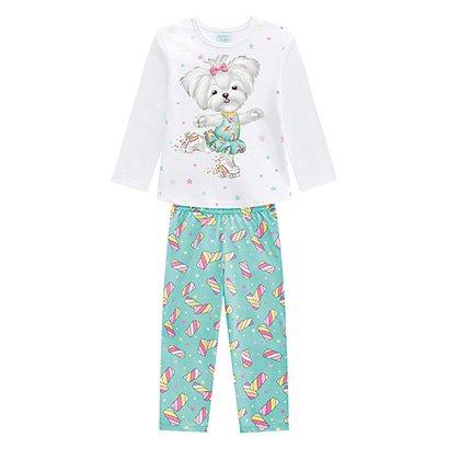 Pijama Infantil Longo Kyly Patins Brilha No Escuro Feminino