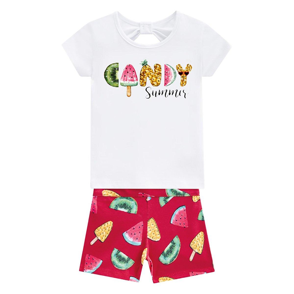 Conjunto Infantil Kyly Blusa E Shorts Candy Sumer Feminino