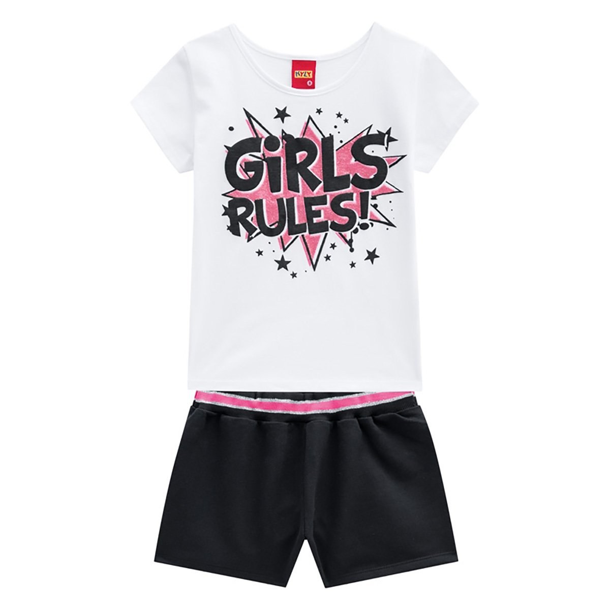 Conjunto Juvenil Kyly Camiseta + Short Girls Rules Feminino