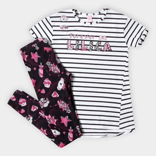 Conjunto Infantil Lilica Ripilica Blusa Listrada E Calça Estampada Feminino  - Branco 7ce62277db440