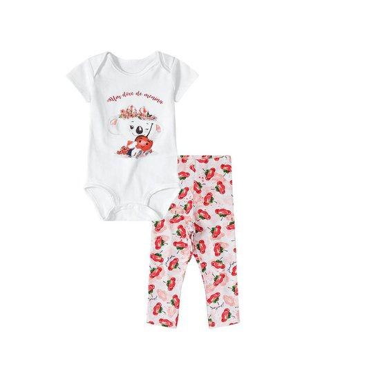 4012fcdc37 Kit Bebê 4 Peças Lilica Ripilica Body mais Calça Cerejas Feminina - Branco