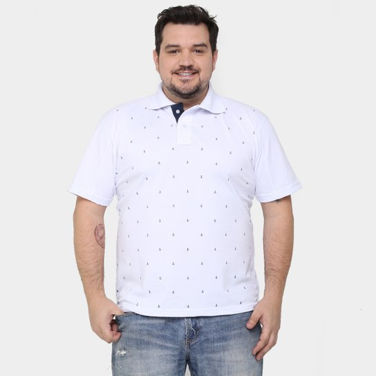 cd6a50dd8f Camisa Polo Local Piquet Mini Print Âncora Plus Size - Compre Agora ...