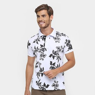 7a88dfbe86ec0 Camisa Polo Local Piquet Full Print Flower