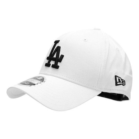 Boné New Era MLB Los Angeles Dodgers Aba Curva 3930 Hc Black On White -  Branco 42239282486