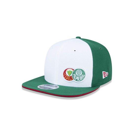 1f4fcf564c776 Boné 950 Original Fit Palmeiras Futebol Aba Reta Snapback New Era - Branco+ Verde