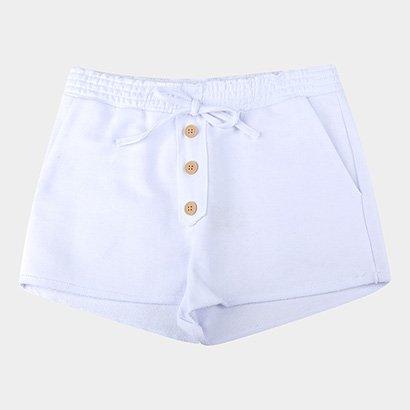 Shorts Infantil Costão Moletom Botões Feminino