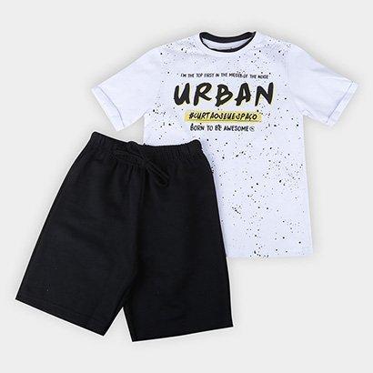 Conjunto Infantil Costão Camiseta Meia Malha e Bermuda Moletom Urban Masculino