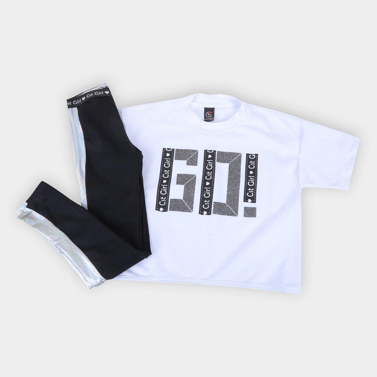 Conjunto Infantil Costão Blusão Go+Legging C/Recorte Feminina