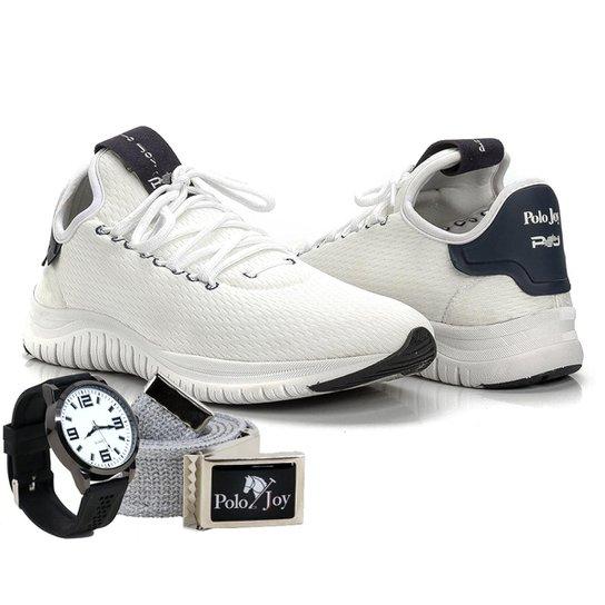 54da056f64c58 Kit Tênis Masculino Polo Joy Sport + Relógio E Cinto - Branco ...