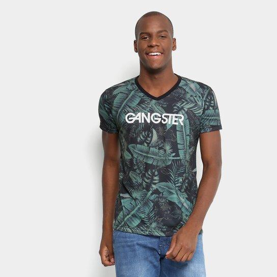 Camiseta Gangster Estampada Masculina - Verde - Compre Agora  aa6ccf074b150