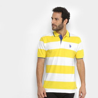 Camisa Polo U.S Polo Assn Piquet Listras Patch Masculina f5aa8d670315b
