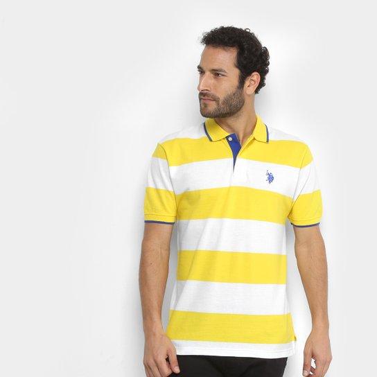 c2702c0a8 Camisa Polo U.S Polo Assn Piquet Listras Patch Masculina - Amarelo+Branco