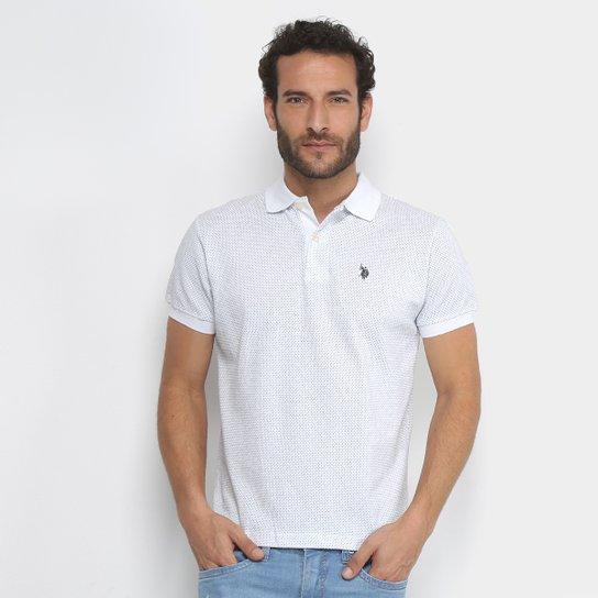 594b3c702e Camisa Polo Estampada Mini Print U.S.Polo Assn Manga Curta Masculino -  Branco