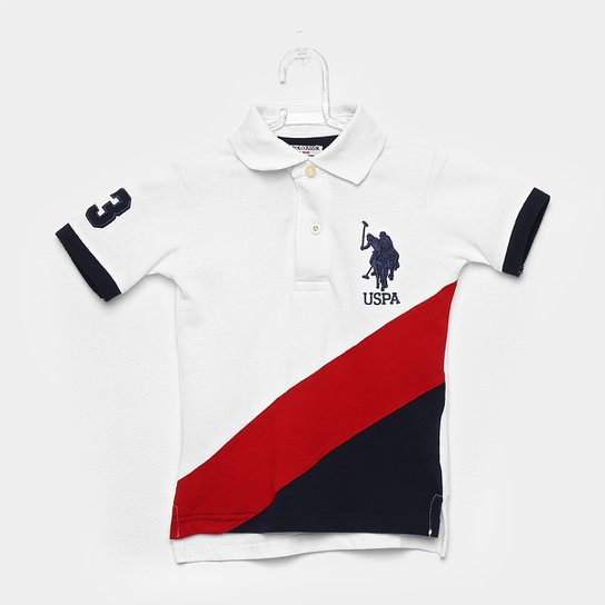 Camisa Polo Infantil U.S.Polo Assn Patch Masculina - Branco - Compre ... 5c7d65d29bbb1