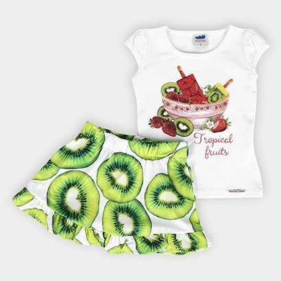 Conjunto Infantil Marlan Frutas Short Embutido Feminino