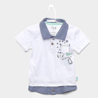Camisa Polo Infantil Kiko & Kika Sobreposição Masculina