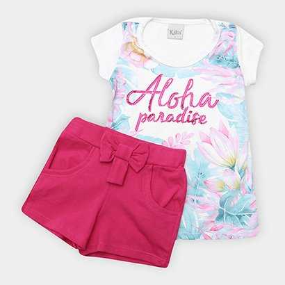 Conjunto Infantil Kiko & Kika Floral Aloha Paetês Feminino