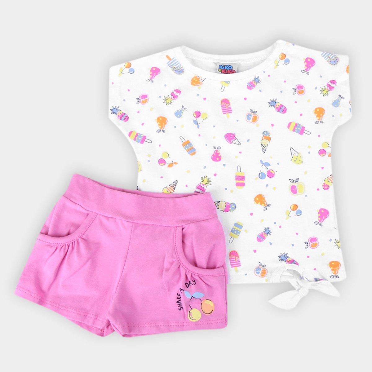 Conjunto Infantil Kiko & Kika Blusa E Shorts  Shakf Day Feminino