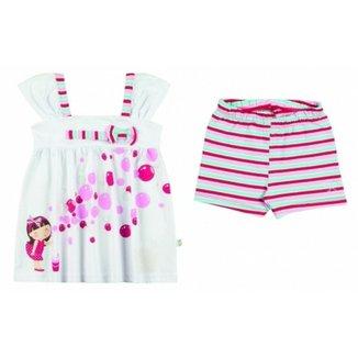 bb1c99f671d Conjunto Infantil Boca Grande Bata e Shorts Feminina