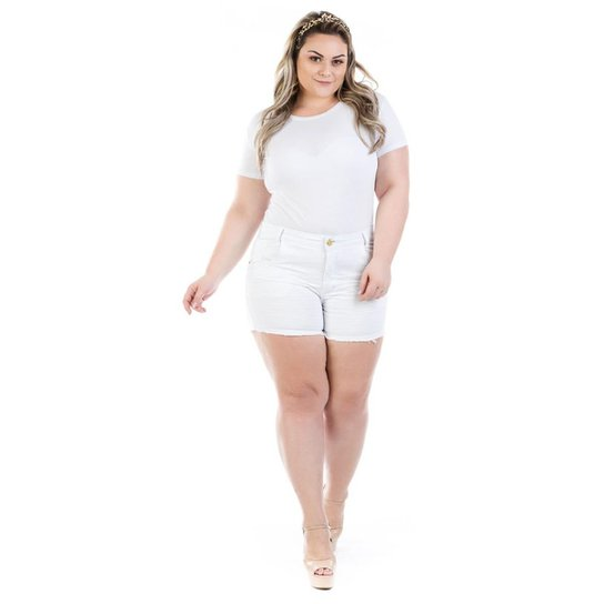1f1062623 Shorts Jeans Curto Munich Color Plus Size Feminina - Branco | Netshoes