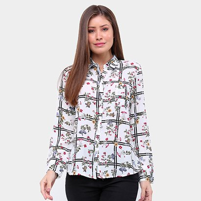 Camisa MS Fashion Estampada Manga Longa Feminina