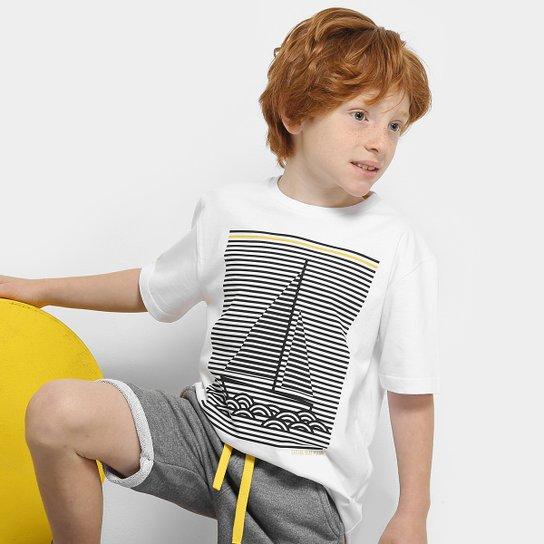 39da0848ca42e3 Conjunto Infantil Milon Camiseta e Bermuda Moletom Masculino - Branco e  Cinza