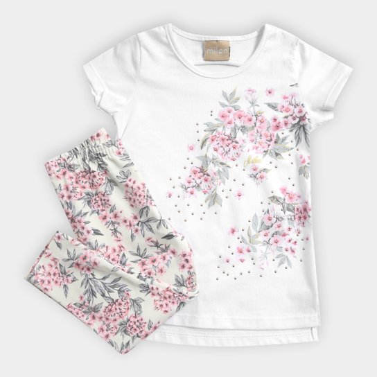 Conjunto Infantil Milon Floral Feminino - Compre Agora  c406621d8f6