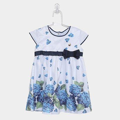 Vestido Infantil Milon Acetinado Floral