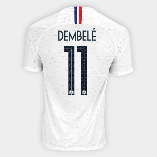 6237dcc0af Camisa Seleção França Away 2018 n° 11 Dembelé - Torcedor Nike Masculina -  Branco