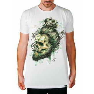Camiseta longline Artseries Caveira barba Masculina 4e58c52428e77
