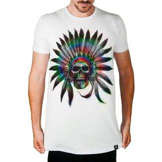 8a3492d3dd Camiseta Longline Artseries Caveira índio Cacique Masculina