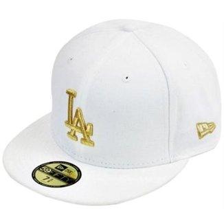 Boné New Era Aba Reta Fechado Mlb Los Angeles Basic Gold e433eecdea