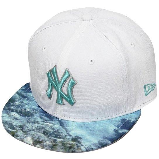 1d94eb59e Boné New Era Aba Reta Snapback Mlb Ny Yankees Visor Reel - Branco ...
