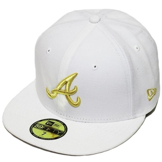 ade794514779c Boné New Era Aba Reta Fechado Mlb Atlanta Basic Gold - Branco ...