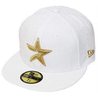 Boné New Era Aba Reta Fechado Mlb Astros Basic Gold 8ddff285b79