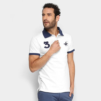 Camisa Polo Polo Up Malha Bordada Masculina