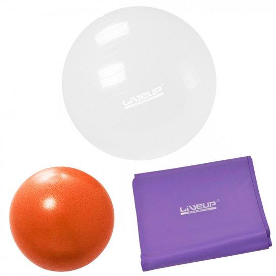 Bola 65cm Transparente + Overball 25 Cm + Faixa Elastica Media LiveUp -  Branco 72900fddf31d2
