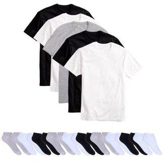 Kit 5 Camisetas Básicas Masculina T-Shirt Algodão + 10 Pares De Meias  Soquete 01667c764f2