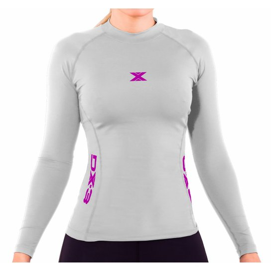 Camisa DX3 XSOFT Feminina Manga Longa Corrida Fitness Trekking 91028 -  Branco 0862f656d971c